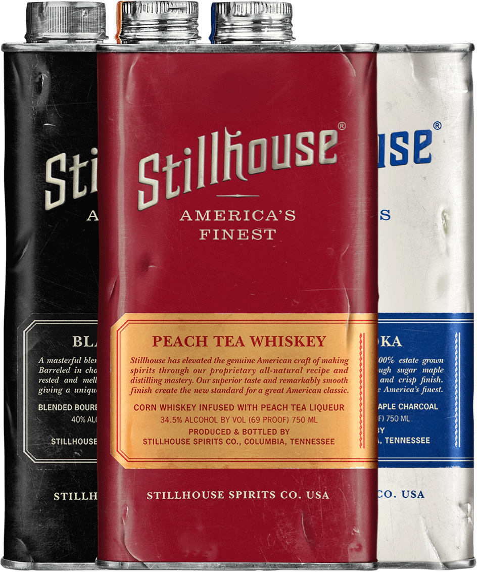 Stillhouse Peach Tea Whiskey, Black Bourbon and Classic Vodka Cans